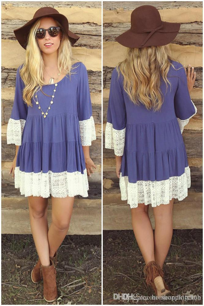Womens Summer Casual Lace Paneled Mini Dress Loose Women T-shirt Robes Vêtements