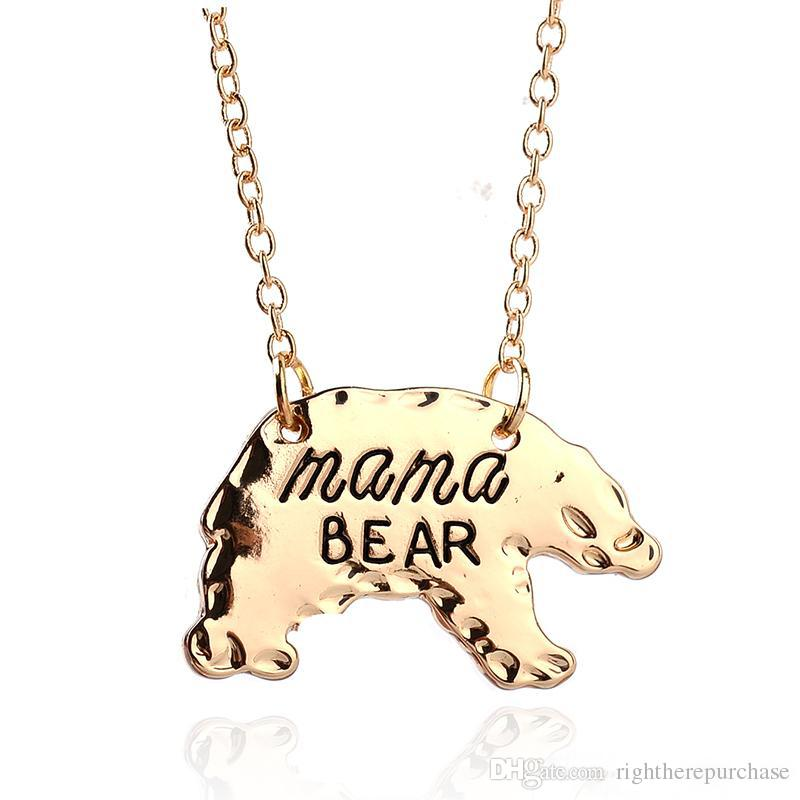 Or Argent personnalisé Mama Bear ours polaire Animal Pendentif Colliers Mère Col