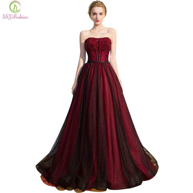 Retro Sexy Formal Evening Dresses Bridal Banquet Luxury Burgundy ...