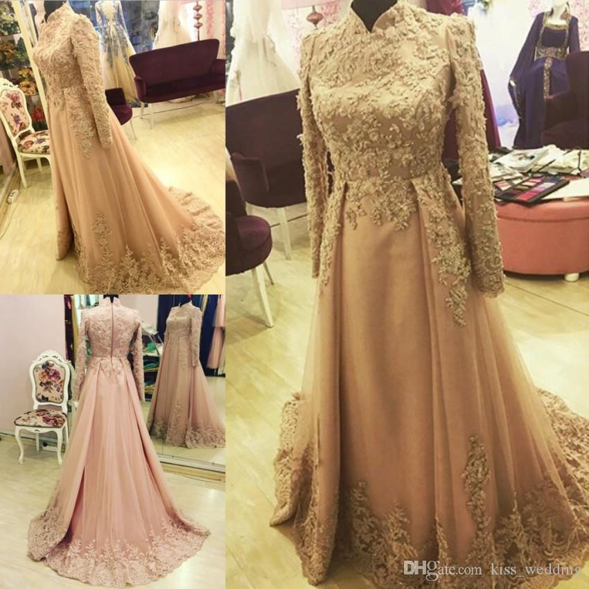 2017 Elegant Overskirts Prom Dress Long Sleeve Dubai