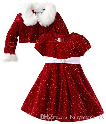 2017 Autumn Winter Boutique Christmas Dresses Girls Red White ...