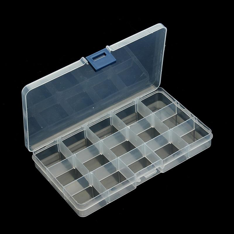 2017 plastic 15 slots jewelry adjustable tool box case for Case container 974