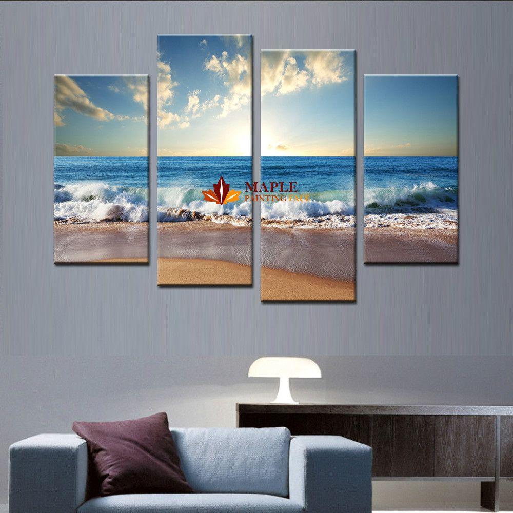 Large canvas art wall hot beach seascape modern wall for Beach wall mural cheap