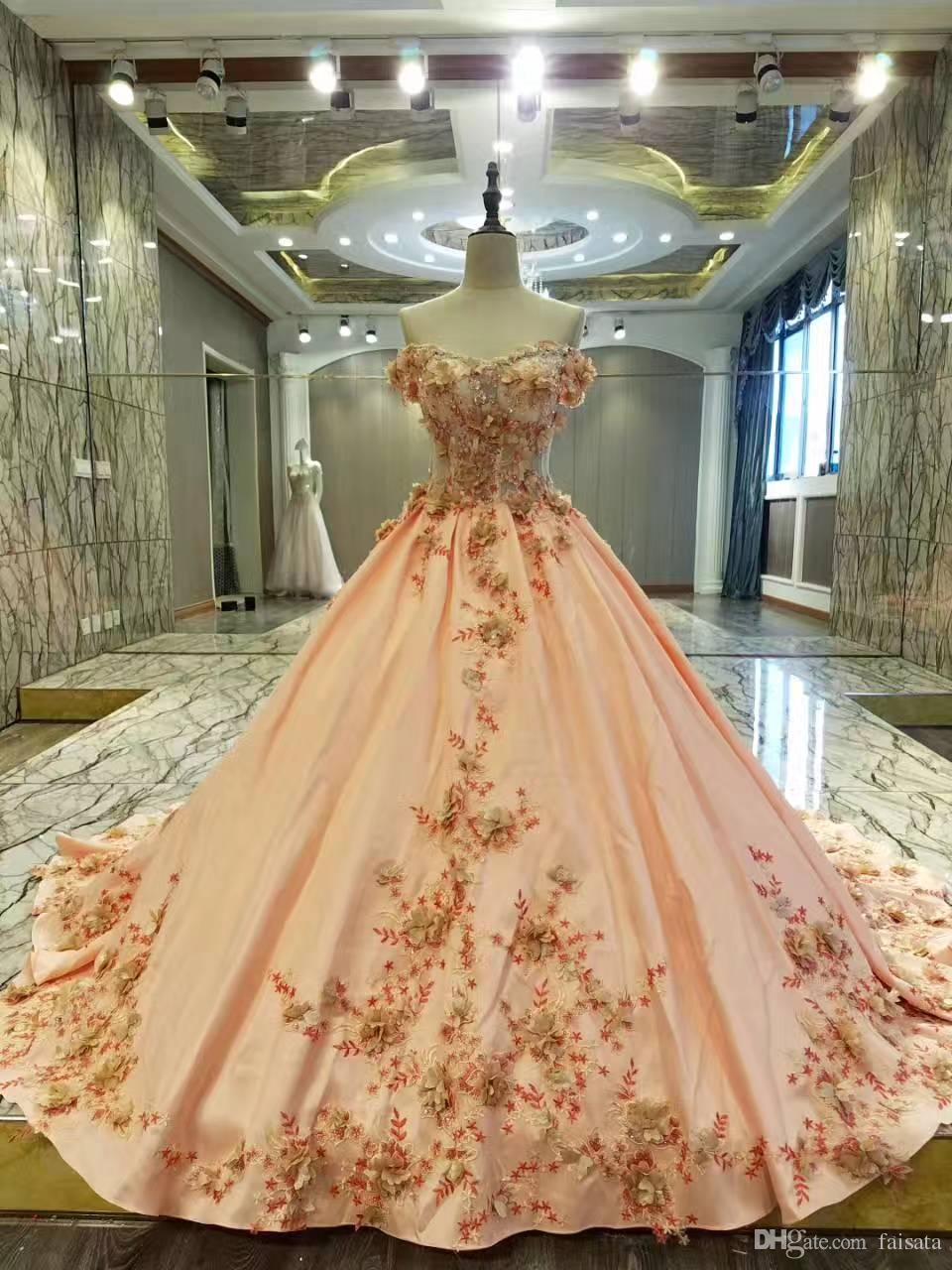 Real Dresses Champagne Gold Ball Gown Prom Dresses 2017