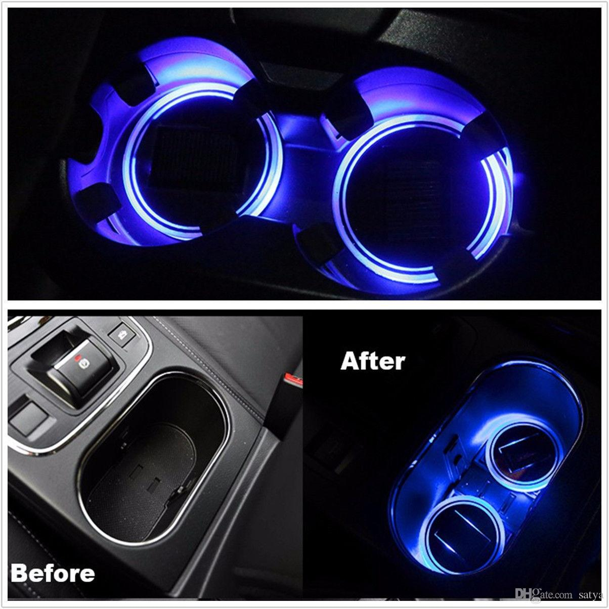 Car Light Decoration Solar Cup Holder Bottom Pad Led Light Cover Trim Atmosphere Lamp