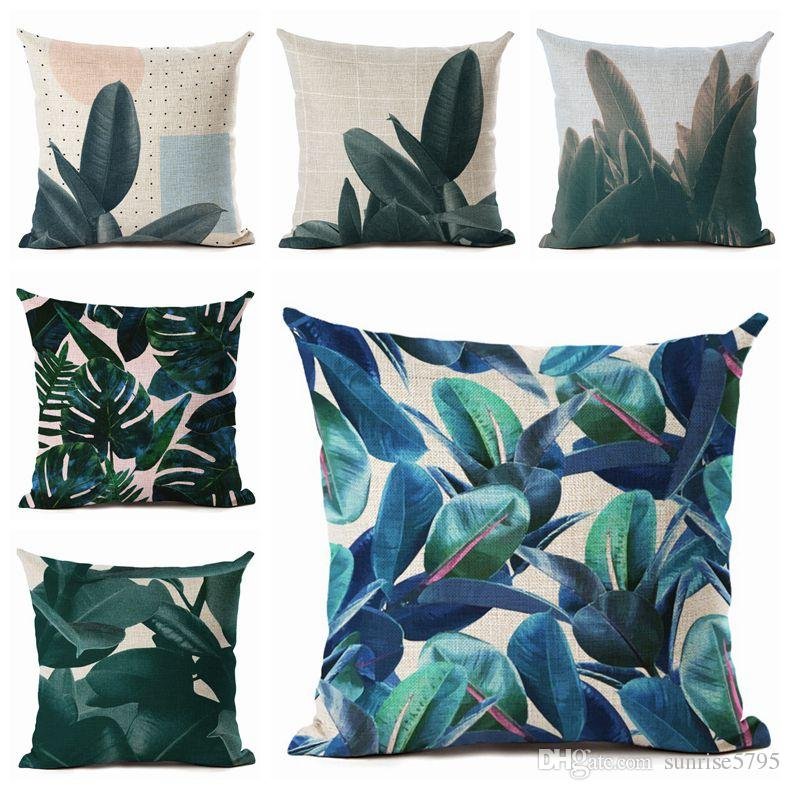 Dark Green Cushion Cover Spring Summer Leaf Throw Pillow Case For Sofa Couch Pot Plant Almofada ...
