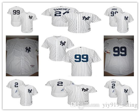 New York Yankees Hommes Jersey 2 Derek Jeter 24 Gary Sanchez 99 Aaron Judge Mail