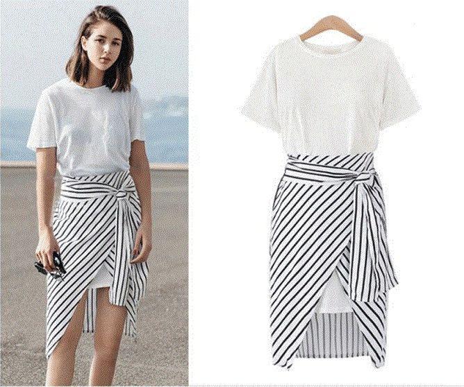 2017 Top Fashion Casual Dress Stripe Wrap Skirt Set Summer Plus ...