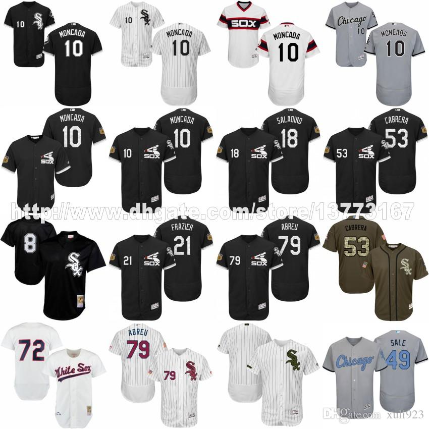 S-5XL Hommes 2017 Formation au printemps Chicago White Sox 10 Yoan Moncada 18 Ty
