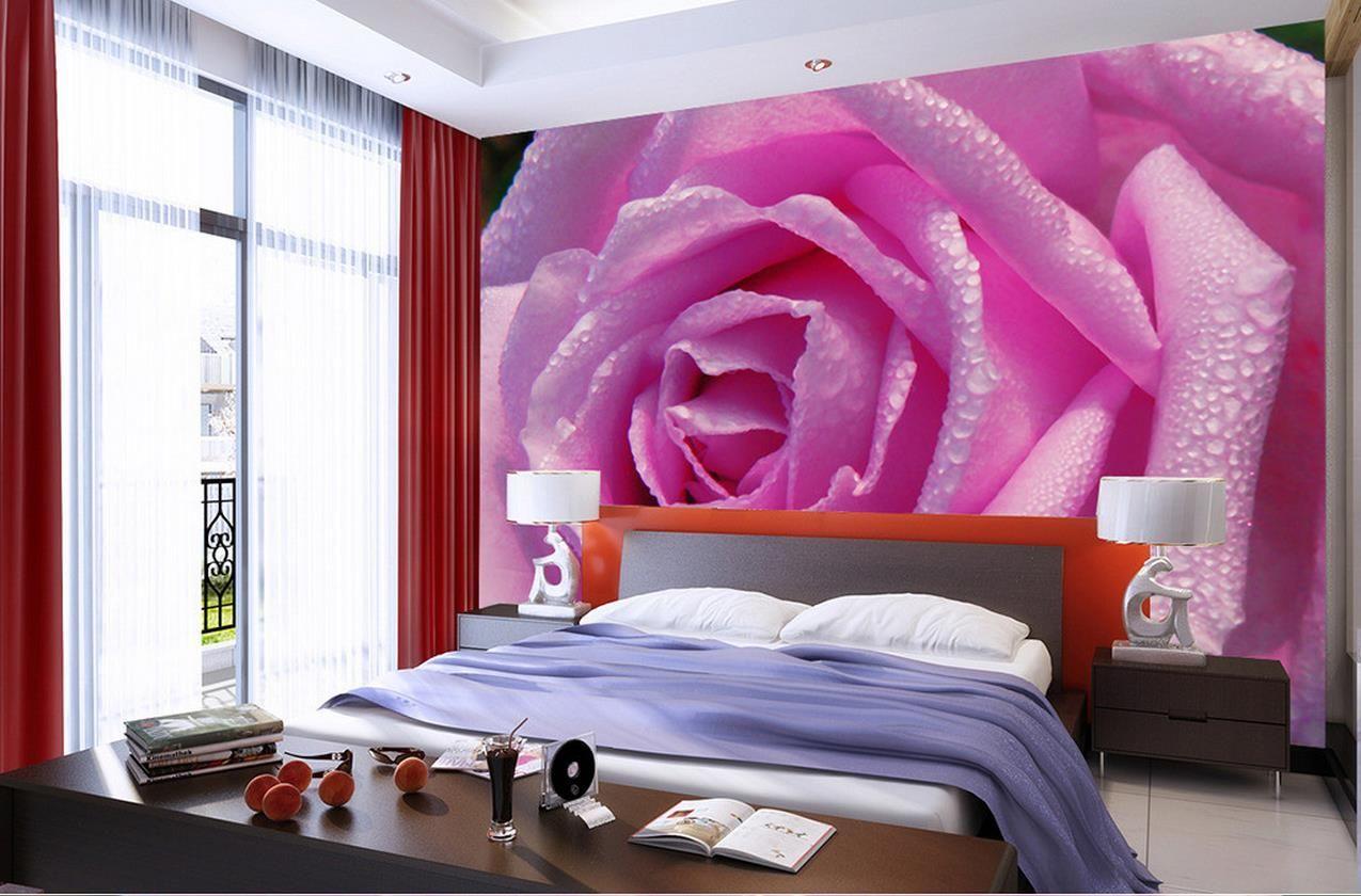 Спальня фото интерьера фотообои цветы