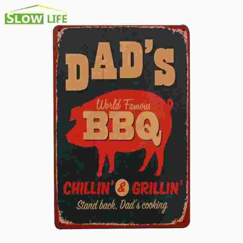 Metal Signs Home Decor metal signs home home design ideas unique metal signs home Dads World Famous Bbq Vintage Home Decor Tin Sign 8x12 Bargarage