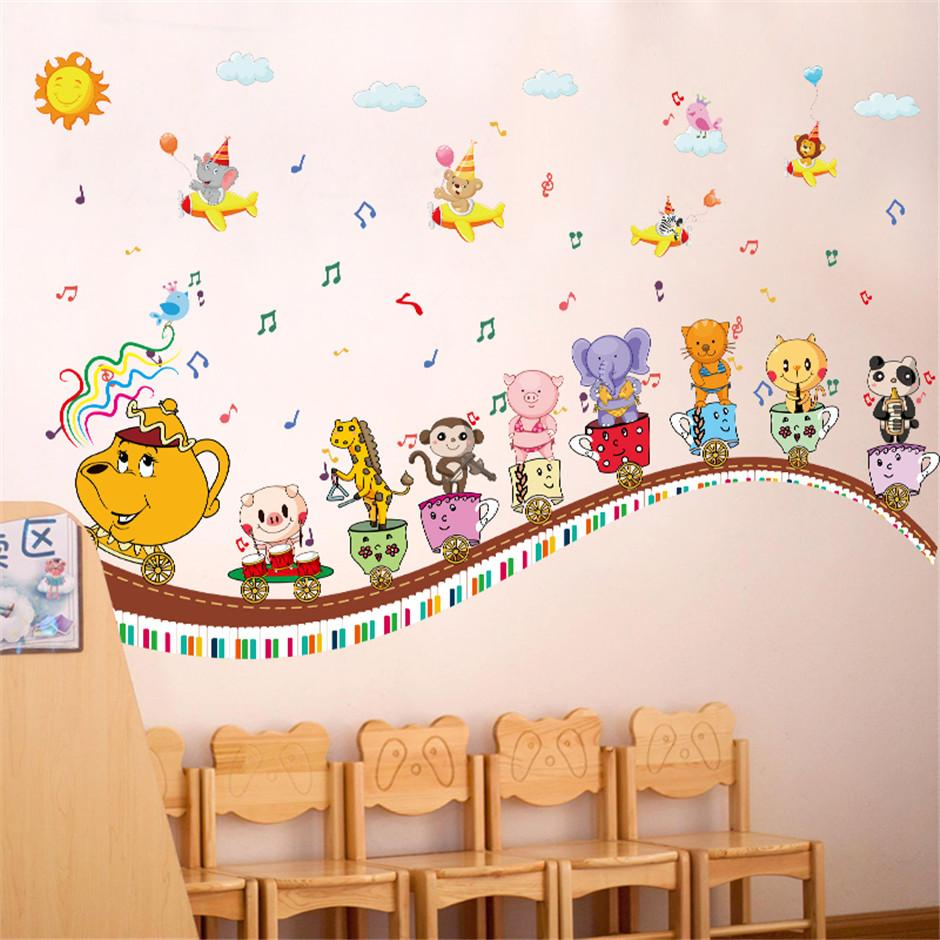 Removable Cartoon Animal Music Concert Wall Stickers Hot Sells Wall Decals  Animals Home Decorations Removable Wall