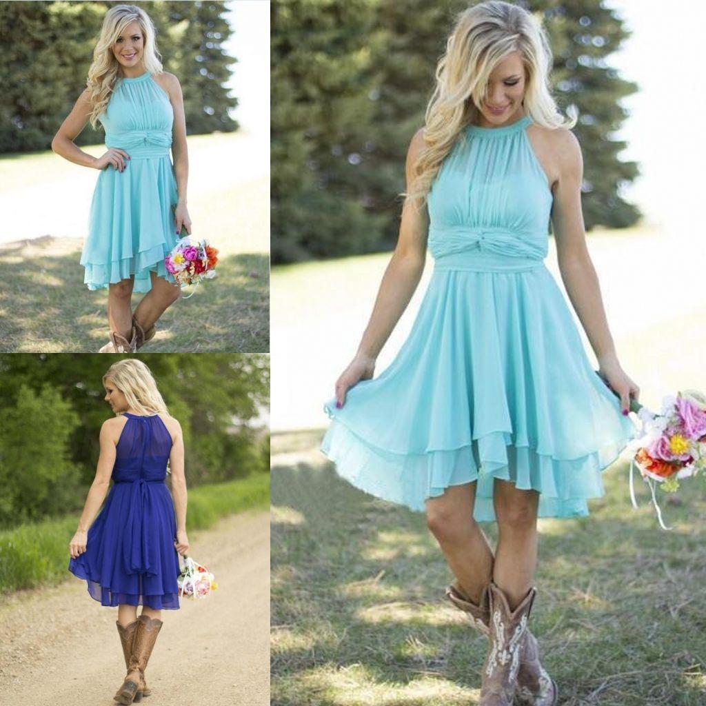 2016 Modest Knee Length Country Bridesmaid Dresses Light