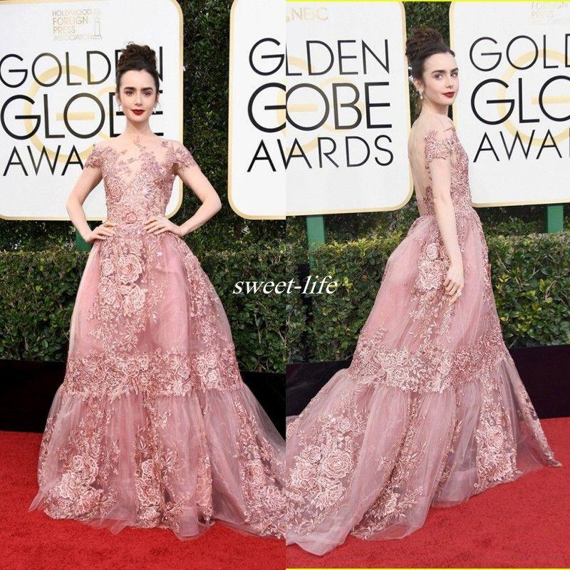 Blush 2017 Golden Globe Awards Backless Celebrity Dress Lily ...