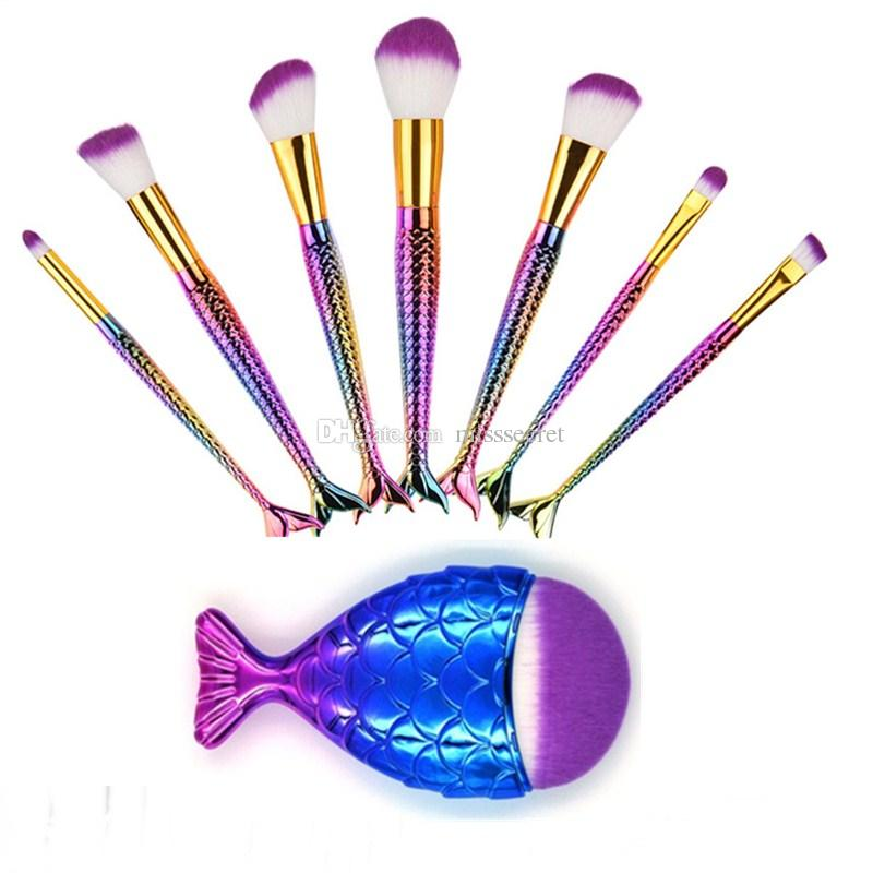3d Mermaid Design Makeup Brushes Set Big Fish Tail