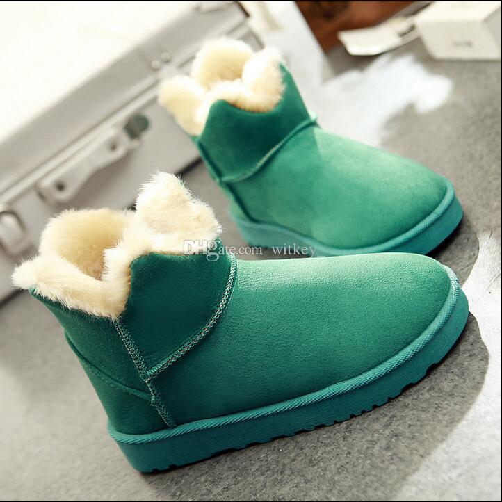 Winter Snow Boots Female Short Tube Cotton Boots Flat Bottom ...