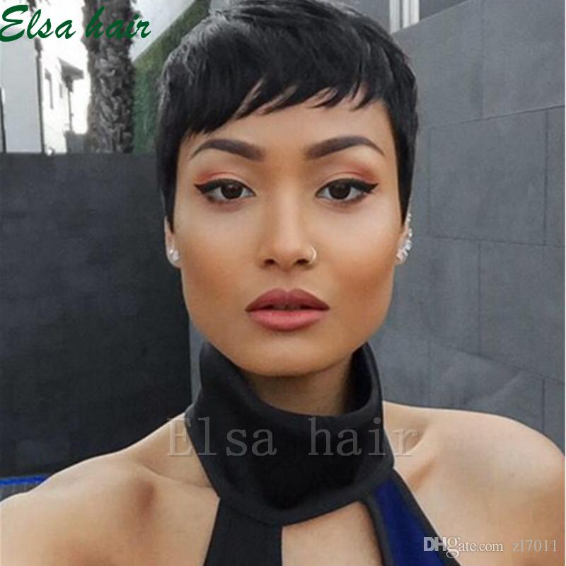 New Human Hair Wig Short Pixie Cut Wig Ladies Black Short