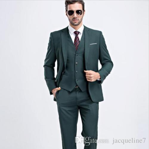 Dark Green Men Suits Custom Made Formal Groom Tuxedos Mens Wedding ...