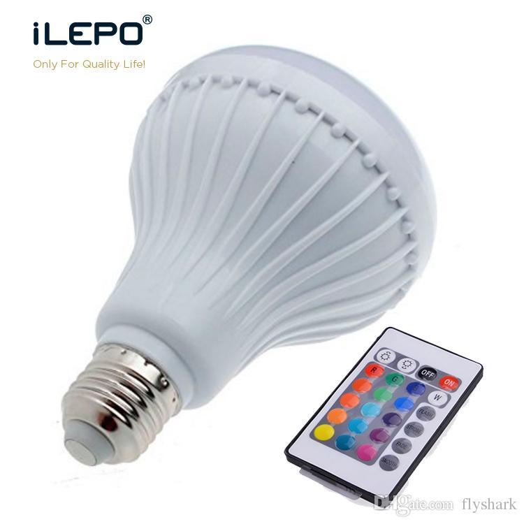 Wireless speaker bulb 12w power e27 led rgb bluetooth for Best bluetooth light bulb speaker