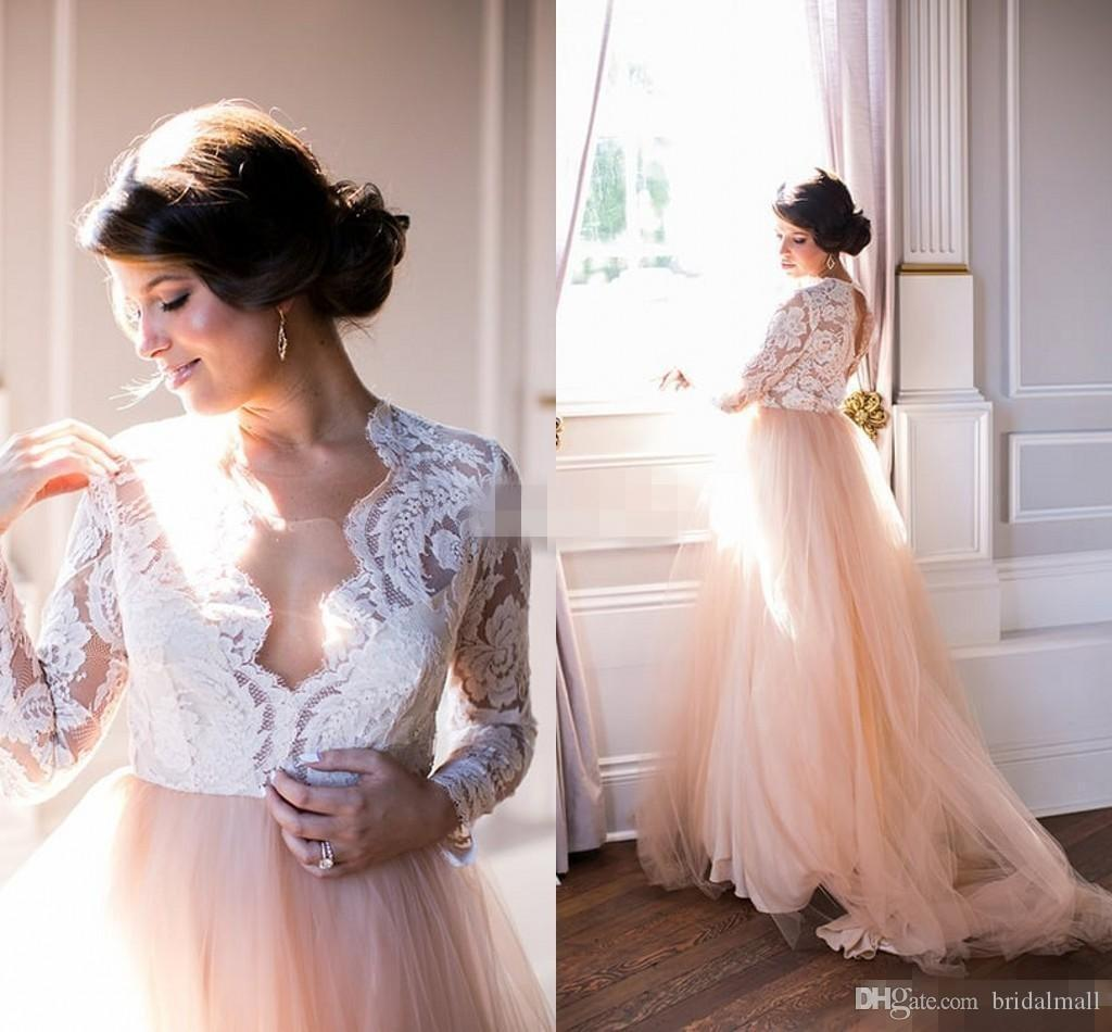 Discount Summer 2017 Long Sleeves Wedding Dresses Lace Top
