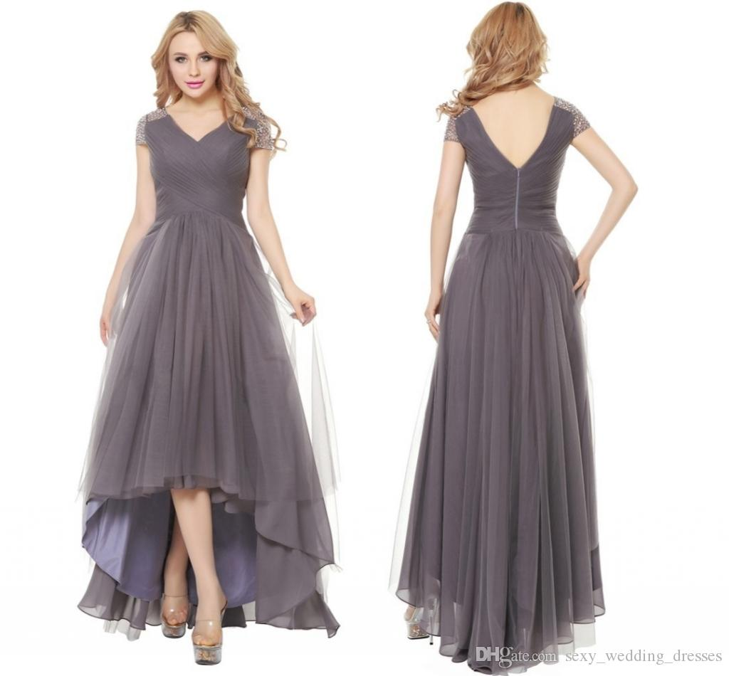 Nely Gray Short Front Long Back Evening Dress Gown Fashion Formal ...