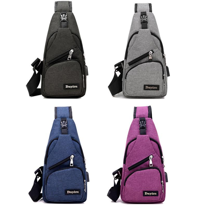 Men Chest Pack Sling Bag Oxford Single Shoulder Strap Back Bag ...