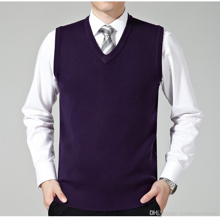 New Men's Knit Vest for Autumn Winter Casual Wool Sweater Pullover ...