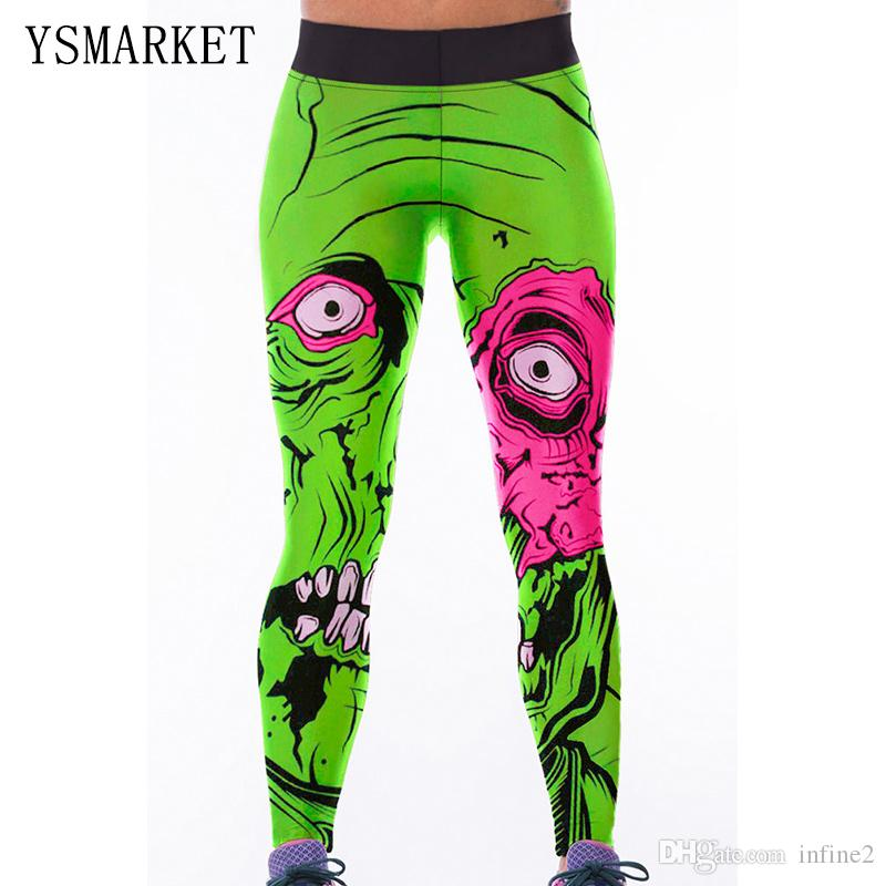 2017 Womens Green Monstre Imprimer haute taille Yoga Leggings pantalons Fitness