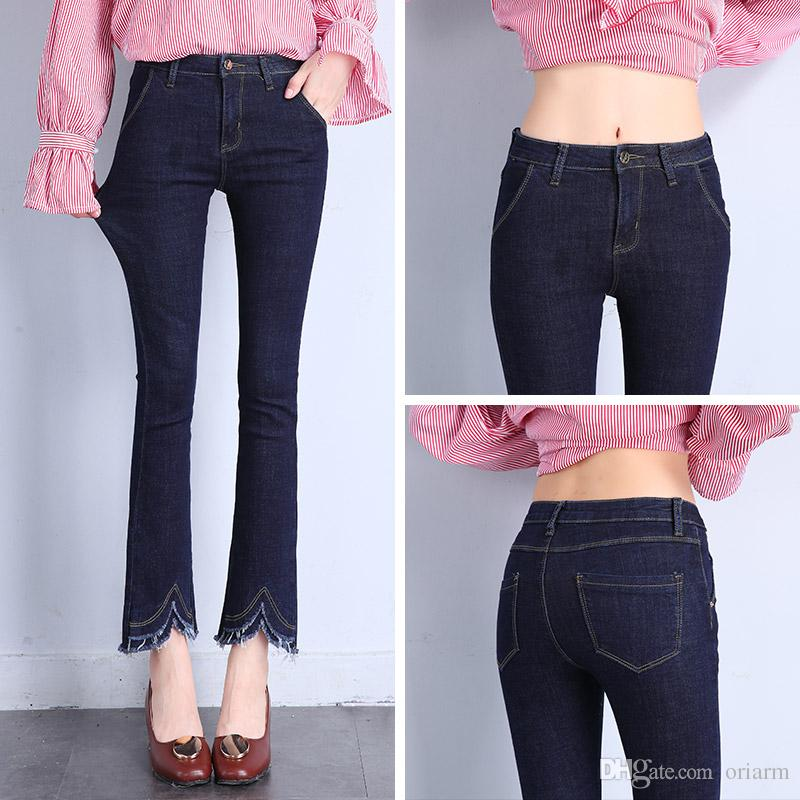fashion elastic skinny bell bottom jeans for woman high waiet