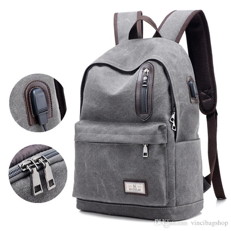 New Design Canvas Backpack Men Fashion Laptop Backpack Student ...