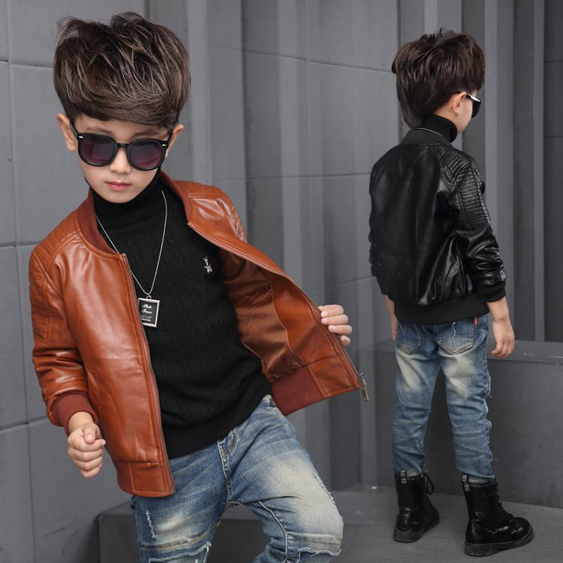 New Baby Boy Leather Jacket Boys Coat Black And Brown Color