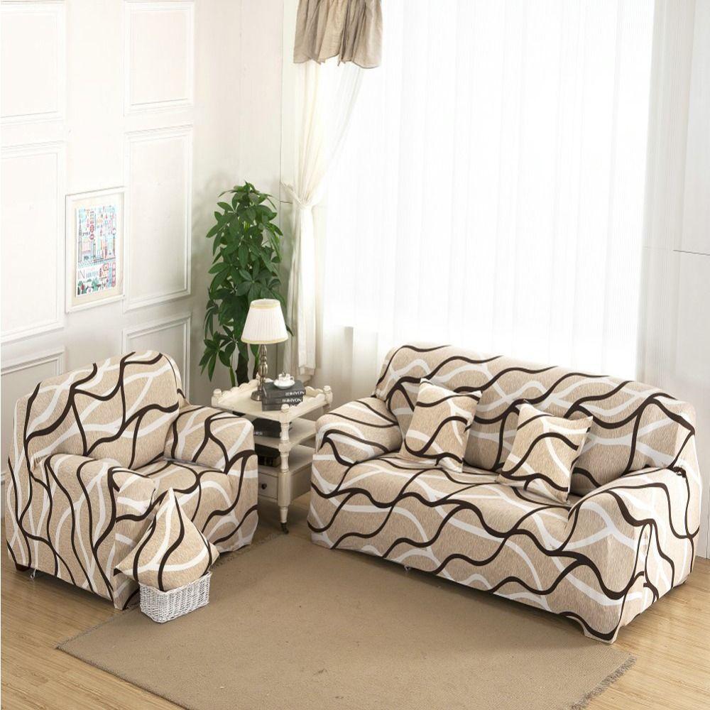 1234 Seat Plush Flexible Stretch Sofa Cover Big Elasticity