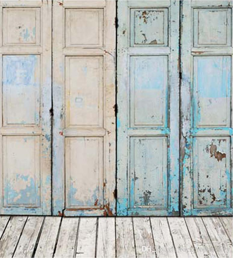 2017 Blue Painted Old Door Photography Backdrops Wood