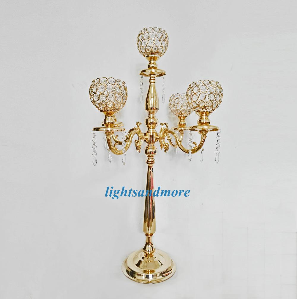 6pcs Golden Silver Color 5 Arms Crystal Candelabra Table Centerpieces Candlesticks For Wedding Party Decoration Home Decor Candle Holder