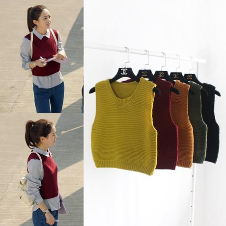 Wholesale-Women Knitted Sweater Vest Wine Red Khaki Yellow Green ...