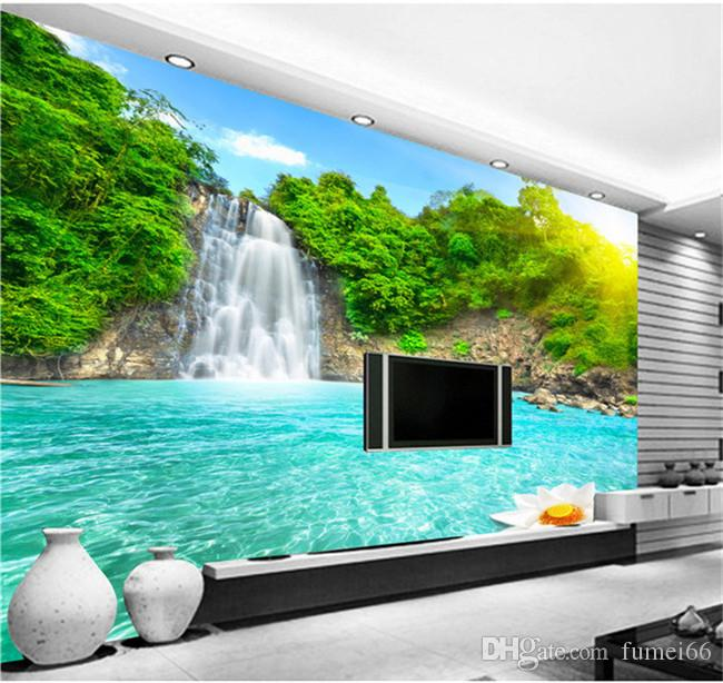 Natural scenery 3d wall mural forest waterfalls pools for 3d nature wallpaper for living room