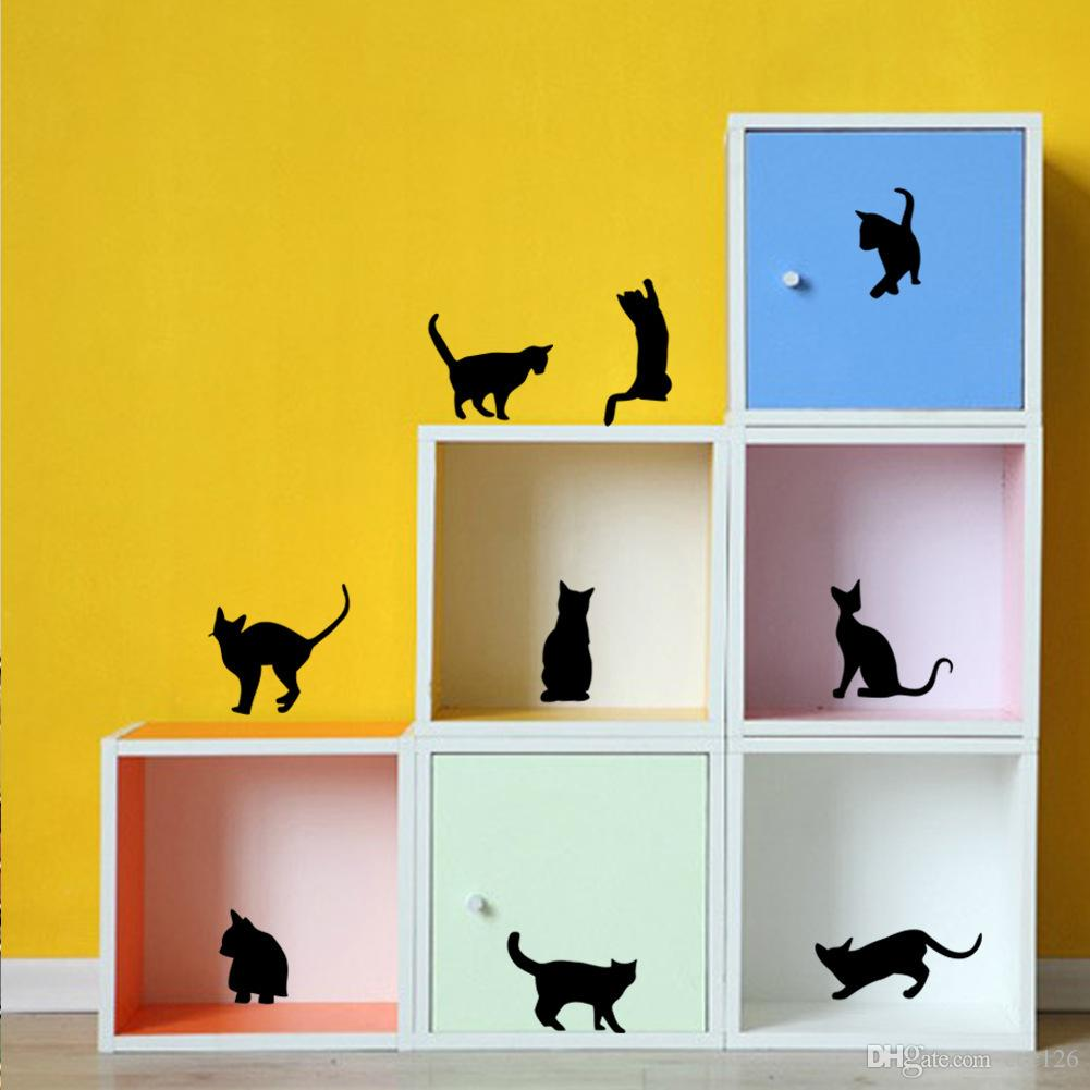Lovely 9 cats family wall stickers decoration decor home decals lovely 9 cats family wall stickers decoration decor home decals fashion waterproof bedroom living sofa refragerator switch laptop cabinet family wall amipublicfo Choice Image