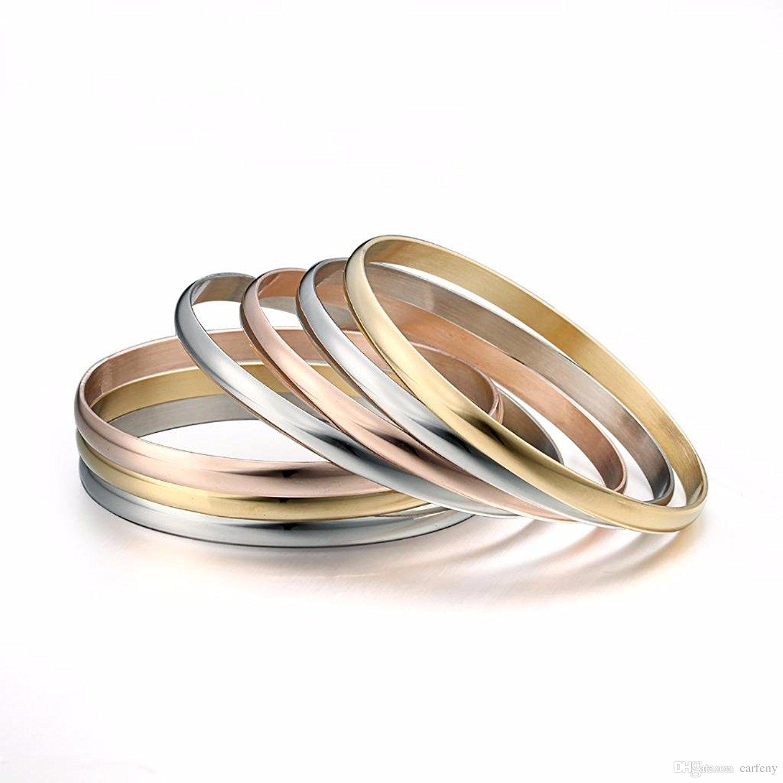 New Design Silver Gold Rose Gold Bangle Bracelet For Beading Or Charm  Jewelry Bracelets Bangle For Women And Girls Gift Gold Bangle Silver  Bracelet Brand