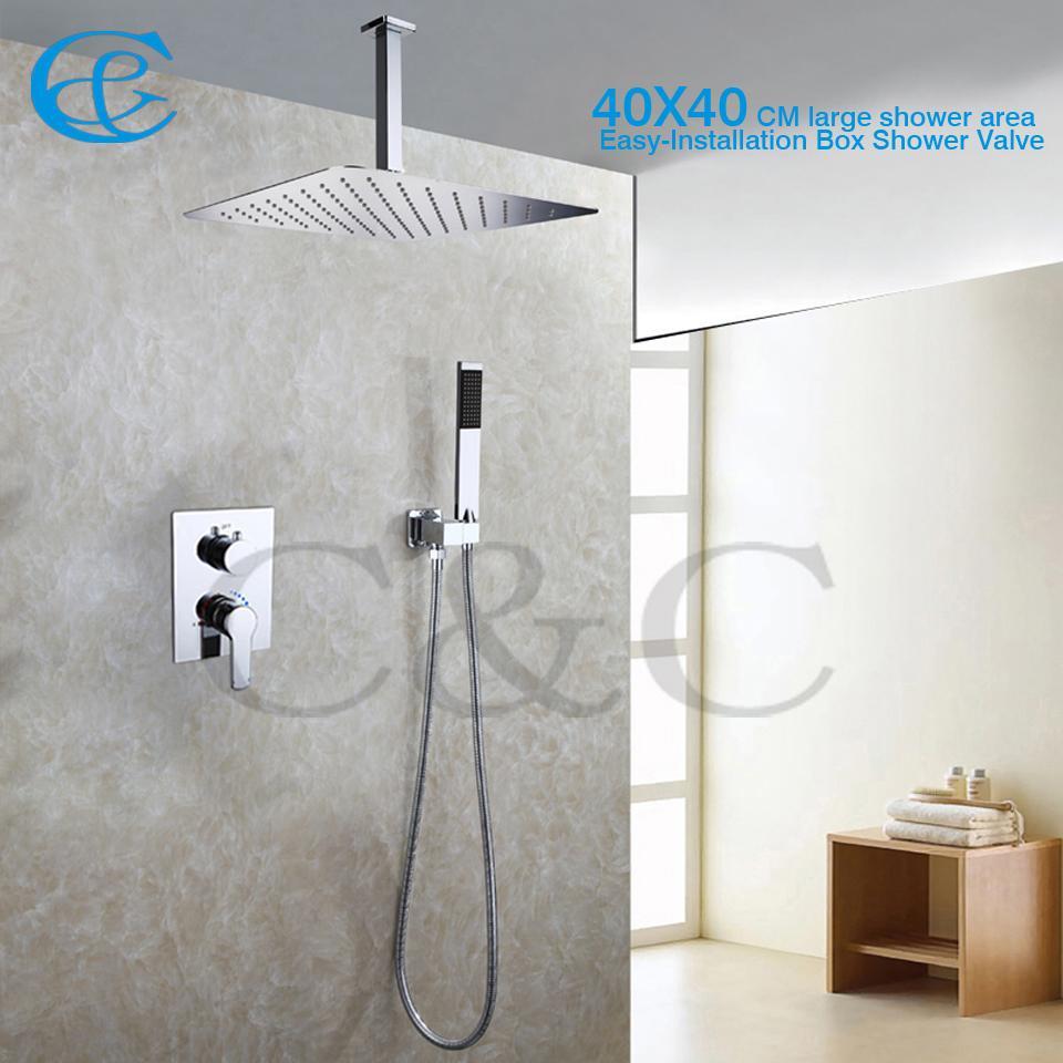 2017 fashion style bathroom rain shower set 16 inch ceil for Llaves para shower