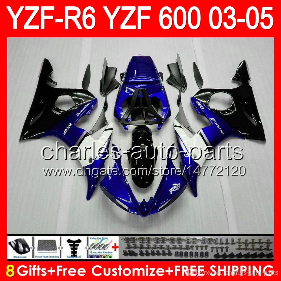 Factory blue 8gifts For YAMAHA YZFR6 03 04 05 YZF600 YZF R6 03-05 83HM1 YZF 600 YZF-600 YZF R 6 YZF-R6 2003 2004 2005 Fairing Kit Blue black