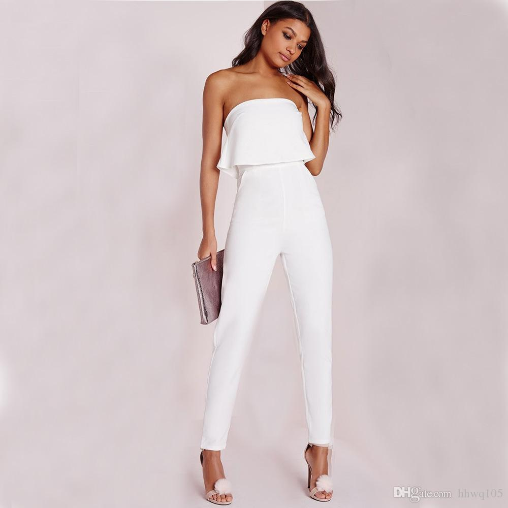 Sexy Ladies White Long Jumpsuit Slim Ruffles Strapless Jumpsuits ...