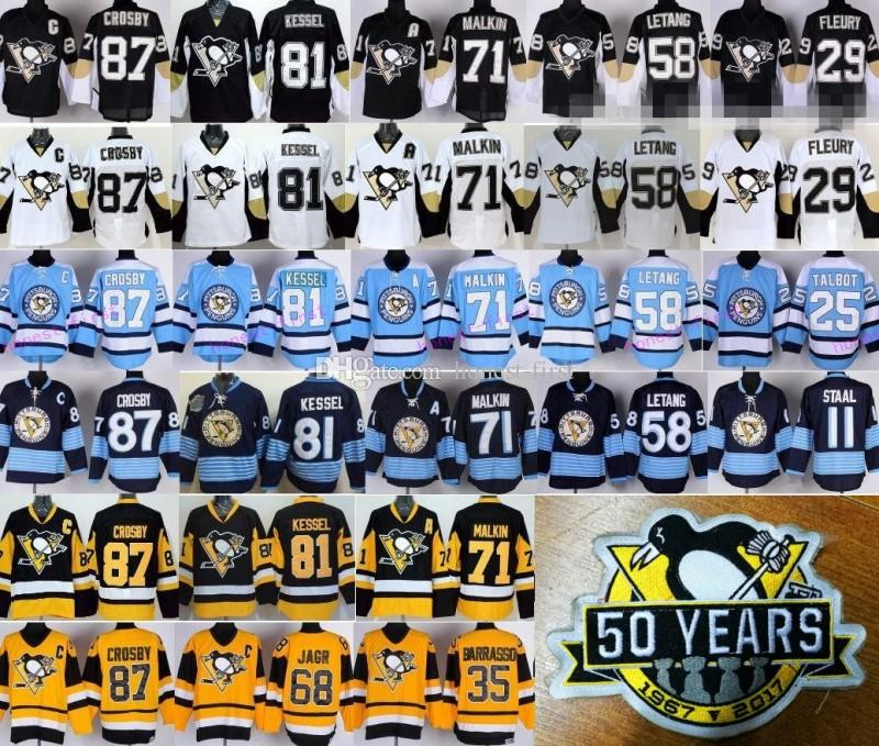 50 Ans Pittsburgh Penguins 87 Sidney Crosby 50e Patch Maillots 2017 Hockey 58 Kr