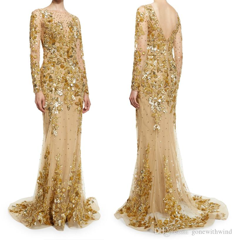 Gold wedding dresses 2016 zuhair murad wedding gowns long for Gold beaded wedding dress