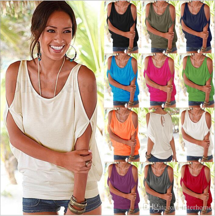 Femme Off Shoulder T-Shirts Sexy Tops Chemises manches courtes O-Neck Tee Casual