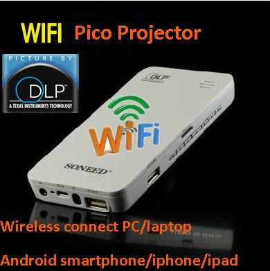 Wholesale new arrival pico wifi projector with battery for Best pico projector for ipad 2