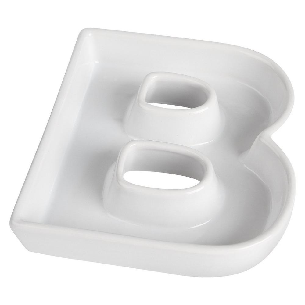 2017 Wholesale B Shape Ceramic Letter Dishes & Plates For