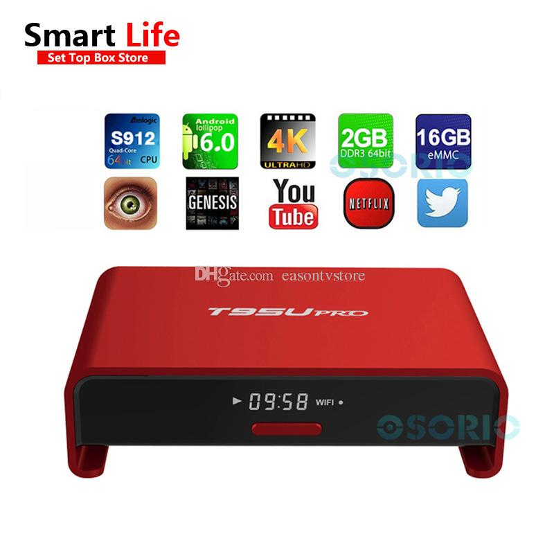 Android Smart Tv Box T95U S912 Octa Core S912 2G + 16G Android 6.0 TV Box 5G Wif