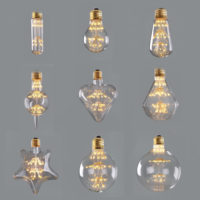 T30 A19 ST58 G95 Diamant G125, 3W 2200K, feux d'artifice Starry, rétro ampoule de filament de LED, dimmable