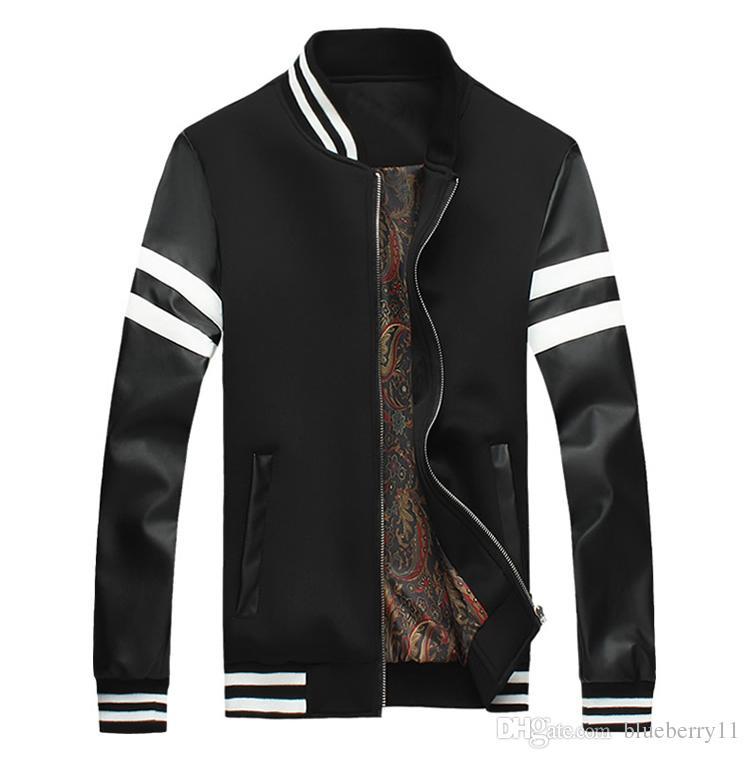 Plus Size 5XL Bomber Jacket Men Baseball Jacket Black White ...