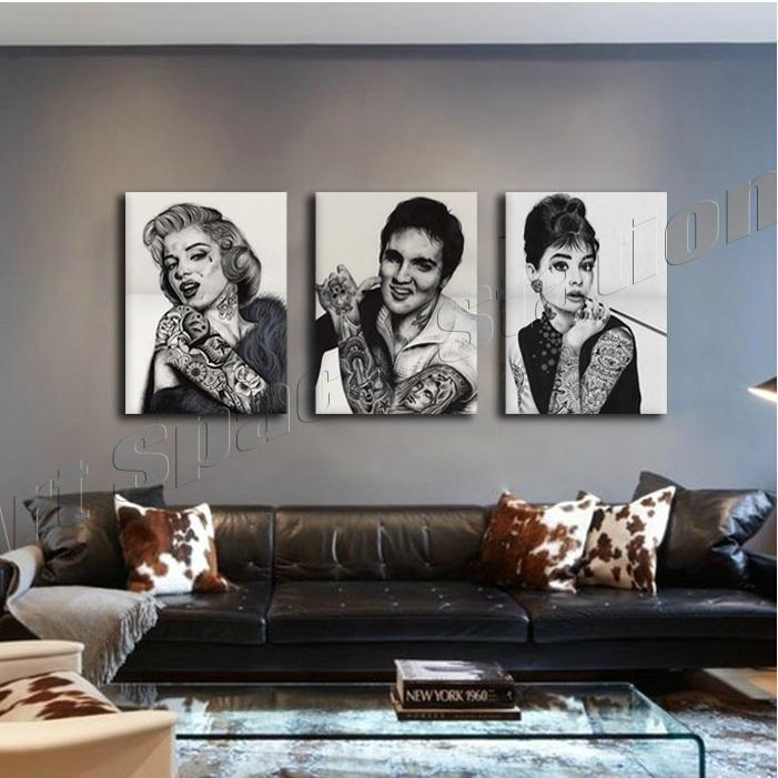Painting tattoo marilyn monroe audrey hepburn elvis for Marilyn monroe tattoo canvas